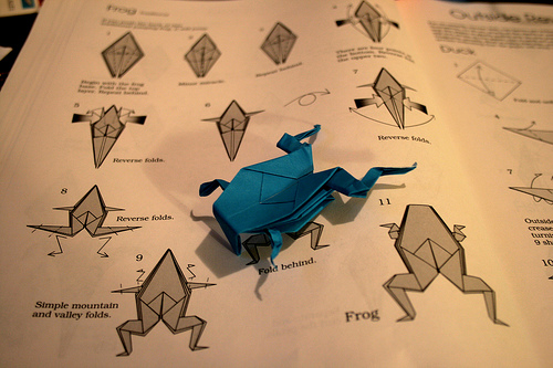 folding an origami frog